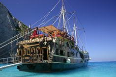 GREECE CHANNEL | A pirate ship to get to a real shipwreck, before swimming in crystal clear turquoise-blue waters. Zakynthos, Greece.