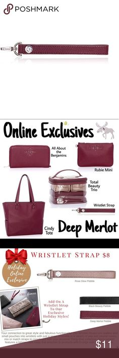 New Thirty-One Wristlet Strap - Deep Merlot Pebble New Thirty-One Wristlet Strap - Deep Merlot Pebble Our Wristlet Straps turn wallets and small pouches into wristlets with just a snap! Available in a variety of pop and neutral colors, mix or match straps to coordinate with your personal Thirty-One collection. Each wristlet features a lobster claw clasp that attaches to products with D-rings and a snap closure. Key features: Pebble faux leather Lobster claw attached to D-rings Snap closure…