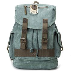 BUG Ecofriendly Canvas Laptop Backpack Rucksack Travel  Hiking Daypack School Bag Greenish Blue ** Read more reviews of the product by visiting the link on the image.