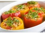Orzo-stuffed Peppers - very good, I added sausage and used red and green peppers. Cooking the orzo in chicken stock is key! Add in some garlic while boiling for more flavor! Vegetarian Recipes, Cooking Recipes, Healthy Recipes, Cooking Tips, Yummy Food, Tasty, Fat Burning Foods, Orzo, Low Calorie Recipes