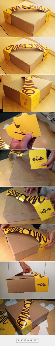 MOMO Pie box packaging design by M. Packaging Box Design, Takeaway Packaging, Paper Packaging, Pretty Packaging, Packaging Design Inspiration, Brand Packaging, Label Design, Branding Design, Product Packaging