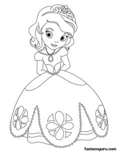 Printable cute princess Sofia coloring pages for girls - Printable Coloring Pages For Kids