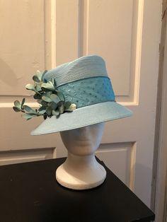 e91e2e130f4 Women ladies church derby blue hat w decorative leaves new price  11 16-11 23 18