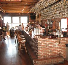 The bar at Gritty Mc Duff's Brewpub in Portland Maine as seen in American Public House Review