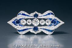 A spectacular Art Deco sapphire and diamond plaque brooch, circa 1925