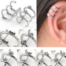 1 Pair Sliver Stainless Steel 3 Hoops Ear Piercing Ear Stud Ear Cuff 9 to Choose~~ few choices I like