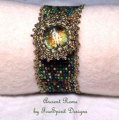 Ancient Rome handmade beadwoven bracelet by FireSpiritDesigns, $75.00