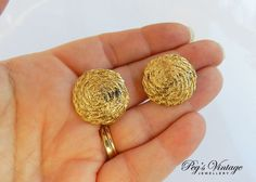 Gold Tone Round Clip Earrings/Vintage Costume Jewelry, Jewellery by PegsVintageJewellery on Etsy