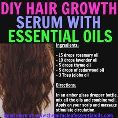 DIY Essential Oil Hair Growth Recipe http://ultrahairsolution.com/how-to-grow-natural-hair-fast-and-healthy/hair-growth-products-that-work/