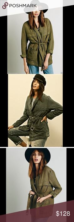 """Free People army olive green Belted Wrap Jacket XS Free People army olive green """"Belted Wrap Jacket"""" Belted cargo jacket in a linen-cotton blend. Single-breasted, with single snap-button closure. 4 pockets on the front. Belt goes between the lining and the shell in the back for a smooth look & comes out of the sides to tie in the front Fully lined and is mid weight New With OutTags  *  Size:  X Small Retail Price $168  *60% Cotton  *40% Linen  *Machine Wash Cold  *Import   Bust: 44 in…"""