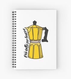 Embrace your inner Italian with this cute Italian yellow Moka Pot design! Piu caffe per favore (more coffee, please!) • Millions of unique designs by independent artists. Find your thing. Italy Coffee, Framed Prints, Canvas Prints, Moka, Glossier Stickers, Spiral, Finding Yourself, Notebook, Artists