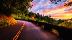 'Columbia River Gorge Road at Sunset by Michael Matti' by MichaelMatti Sunset Wallpaper, Wallpaper Gallery, Nature Wallpaper, Hd Wallpaper, Cool Pictures Of Nature, Beautiful Pictures, Nature Photos, Forest Color, Image Nature