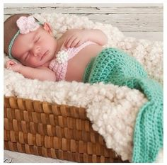 Rainbow's Mermaid Bikini. Wish I had newborn pictures done and did this with my Henley
