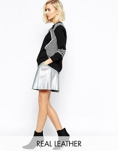 $141, Silver Skater Skirt: Gestuz Mascha Leather Skater Skirt In Silver. Sold by Asos. Click for more info: https://lookastic.com/women/shop_items/243161/redirect