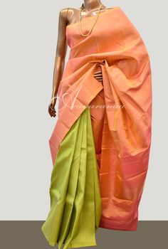 Peach & Green 1/2&1/2 rising border kanchipuram silk saree