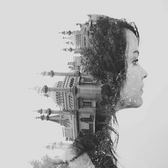 """DAN MOUNTFORD. Double exposure // Val // Royal Pavilion, Brighton  (NOT PHOTOSHOP OVERLAYS) This was created 'In camera"""" & colour was edited in photoshop."""