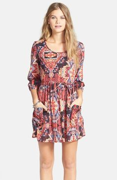 Band of Gypsies Print Babydoll Dress (Juniors) available at #Nordstrom