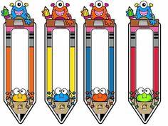 Classroom Labels Free, Classroom Charts, Classroom Board, Monster Theme Classroom, Classroom Themes, Preschool Learning Activities, Preschool Crafts, School Frame, School Labels