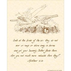 """MATTHEW 6:26 is an 8"""" X 10"""" original art print made from my hand written calligraphy with artwork added, antiqued and printed on natural parchment background in sepia tones or in the other colors available. This illustrated print of calligraphy may be framed in a standard size 8 X 10 frame or matted with an 11 X 14 mat and then framed. To see other styles and verses from the gospel of St. Matthew, please click here: https://www.etsy.com/shop/VintageVerses?ref=hdr_shop..."""