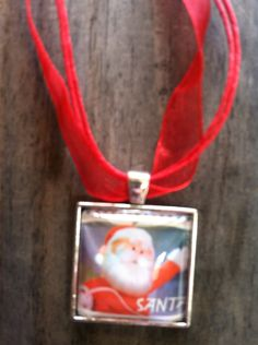 Santa Claus Necklace ~  Dome Pendant Tray Necklace ~ Postage Stamp Jewelry ~ Christmas Necklace ~ Rudolph the Red Nosed Reindeer by MichellesVarietyShop on Etsy