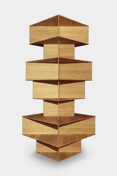 TOTEM SHELF, Design: Bjarke Ingels Group (BIG). © driade Unterschiedlich große Blöcke werden übereinander gestapelt und ergeben eine architektonische Skulptur. In die Öffnungen der Blöcke und auf alle möglichen Flächen können die Lieblingsdinge – auch Bücher – abgestellt werden. Bookshelves, Texture, Wood, Crafts, Design, Make It Happen, Closet Storage, Sculptures, Shelf