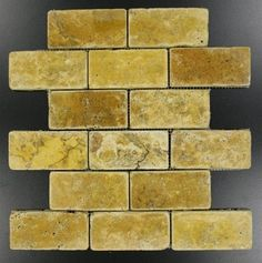 Buy Gold / Yellow 2 in. x 4 in. Tumbled Mesh-Mounted Travertine Mosaic Tile at marble n things , Bathroom Floor, Kitchen Floor, Living Room Floor from mosaictiledirect.net Online Store.