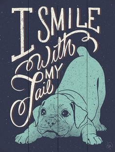 Navy Blue 'I Smile With My Tail' Wall Art