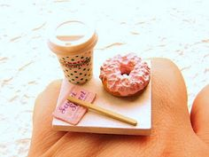 How about a coffee and doughnut to go? Coffee To Go, Coffee Cups, Best Glue, Types Of Plastics, Stir Sticks, Handmade Jewelry, Handmade Gifts, Miniature Food, Doughnut