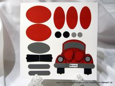 """Red Buggie • uses: Word Window Punch, Modern Label Punch, 1/2"""" Circle Punch, 3/8"""" Punch, Wide Oval Punch, Large Oval Punch, Tag Punch, Sponge Daubers, and Dimensionals."""