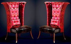 Couture exaggerated high back wing 'Queen Anne Style' armchair. Contemporary ethos with references to the classical past. From Taylor Llorente Furniture