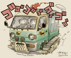 Japanese Cartoon, Japanese Cars, Drawing Machine, Cars Characters, Bike Illustration, Motorcycle Art, Car Drawings, Car Sketch, Cool Sketches