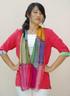 cardigan  hand painted silk,  Top, top  silk cardigan chic, Chic