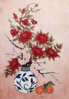 Peonies and hallabongs. Korean water colors and ink. Minhwa. By Matthew Fink