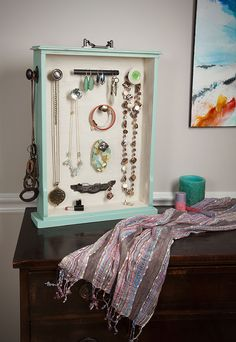 DIY Jewelry Organizer Made from a Salvaged Drawer
