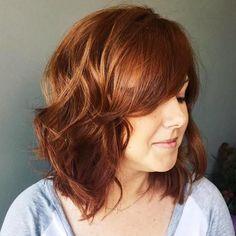medium chestnut brown wavy hairstyle