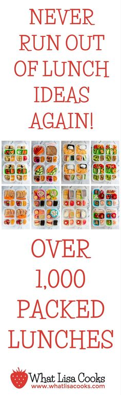 Wow! You will never run out of lunch ideas again! This page has over 1,000 packed lunches. All made by a mom of two sets of twins. http://www.whatlisacooks.com
