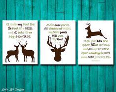 Hunting Nursery Decor. Genesis 27:3. Psalm 42/1. Psalm 18/33. Hunting Decor. Christian Wall Art. Bib