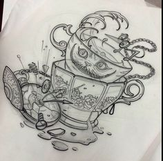 Alice in wonderland tattoos i want dibujos a lápiz, gráfica de tatuaje, dis Tattoo Sketches, Tattoo Drawings, Body Art Tattoos, New Tattoos, Drawing Sketches, I Tattoo, Sleeve Tattoos, Underboob Tattoo, Drawing Ideas