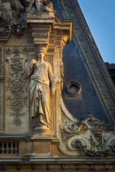 Caryatid, sculpted female architectural feature at Musee du Louvre, Paris France.© Brian Jannsen Photography