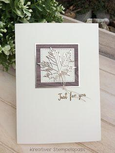 """... dieser Schriftzug ziert meine heutige Herbstkarte: Verwendet habe ich wieder das Folienpapier """"Champagner"""" in Kombination mit dem..."""