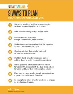 As you start the new year, here are 9 ways to plan lessons that will change teaching and learning in your classroom.
