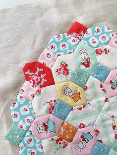 Honeycomb quilting featuring Milk, Sugar & Flower fabric designed by Elea Lutz for Penny Rose Fabrics