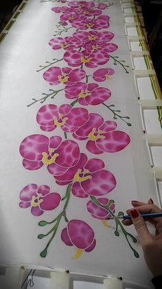Sciarpa di seta Tender orchidee fiore sciarpa-orchidee