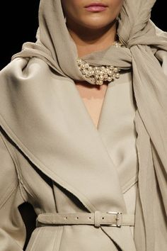 Donna Karan - over the top with pearls mixed in scarf...traditional blend with beiges and browns....love this idea