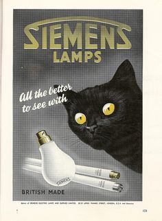 """""""All the better to see with"""" - Siemens Lamps advert, 1950 by mikeyashworth, via Flickr"""