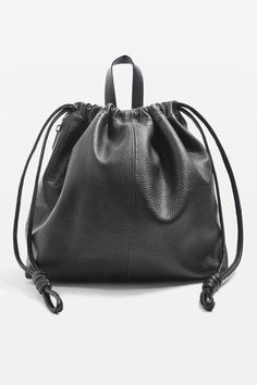 Premium Leather Drawstring Backpack