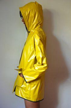 Vtg Reversible Yellow Navy Hooded Retro Raincoat by LuluTresors
