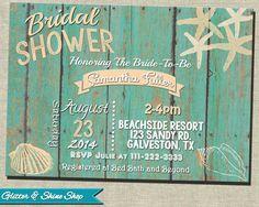 Printable BEACH BRIDAL Shower INVITATION by GlitterAndShineShop, $12.00
