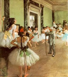 The Ballet Class, oil on canvas by Edgar Degas, (Impressionism) - one of my all time favorites. This was hanging in my ballet school and I have always loved it. Edgar Degas, Degas Paintings, Cheap Paintings, Vintage Ballet, Art Ancien, Dance Class, Ballet Class, Dance Studio, Ballet School