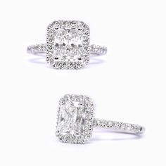 Halo-ring with a radiant cut diamond.